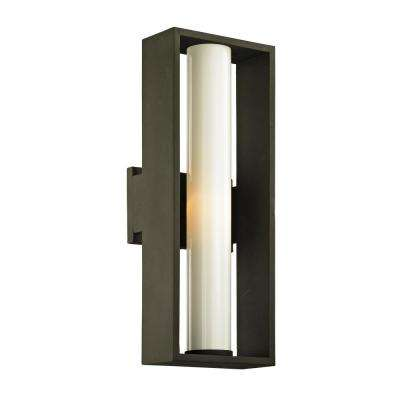 Mondrian 1-Light Textured Bronze 17.75 in. H Outdoor Wall Lantern Sconce with Opal White Glass