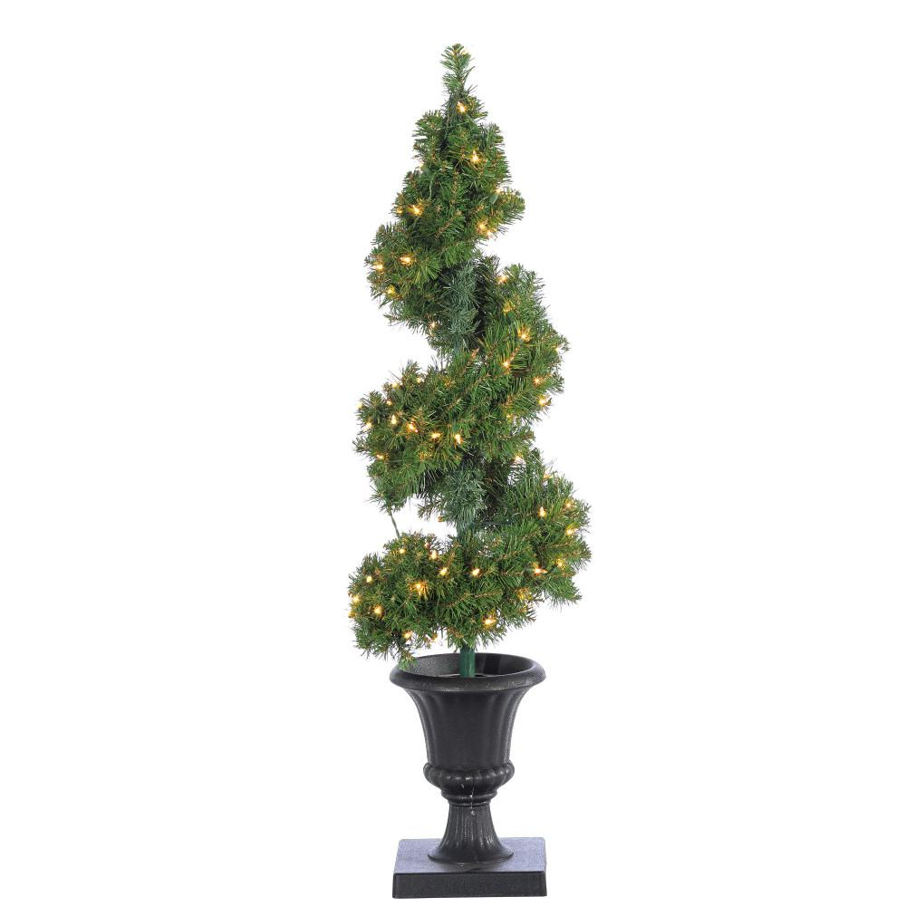 pre lit potted spiral artificial christmas tree with round branch tips