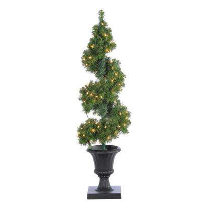 4 ft. Pre-Lit Potted Spiral Artificial Christmas Tree with Round Branch Tips