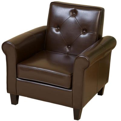Springer Chocolate Brown Leather Upholstered Club Chair