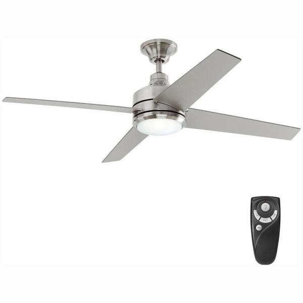 Mercer 52 in. LED Indoor Brushed Nickel Ceiling Fan with Light Kit and Remote Control