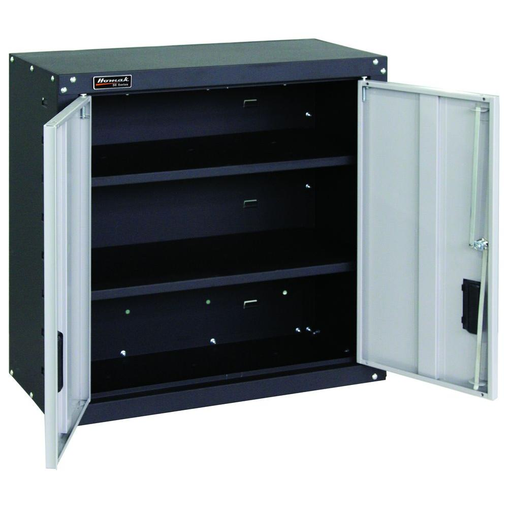 Garage 2 Door Wall Cabinet 2 Shelves With Locking System In Black And Gray