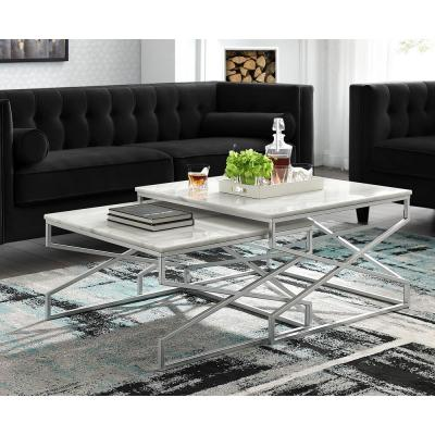 Mikio Silver Coffee Table with Natural Marble Top