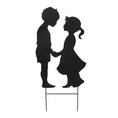 25 in. Tall Black Metal Boy and Girl Silhouette Yard Stake