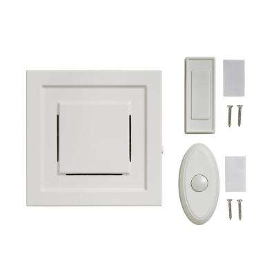 White 85 dB Wireless Plug-In Door Bell Kit with 1-Push Button with White Wireless Door Bell Push Button