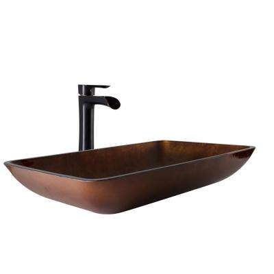 Vessel Sink in Russet and Niko Faucet Set in Antique Rubbed Bronze