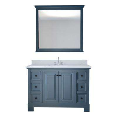 Eastwood 48 in. W x 22 in. D Bath Vanity in Gray with Marble Vanity Top in White with White Basin and Mirror