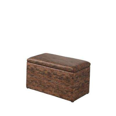 Brown Multicolor Leatherette Marble Pattern Storage Ottoman