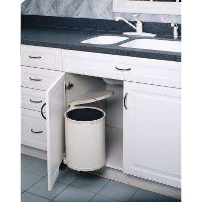 13.75 in. H x 11 in. W x 10.5 in. D 14-Liter Lacquered White Pivot-Out Under Sink Waste Container