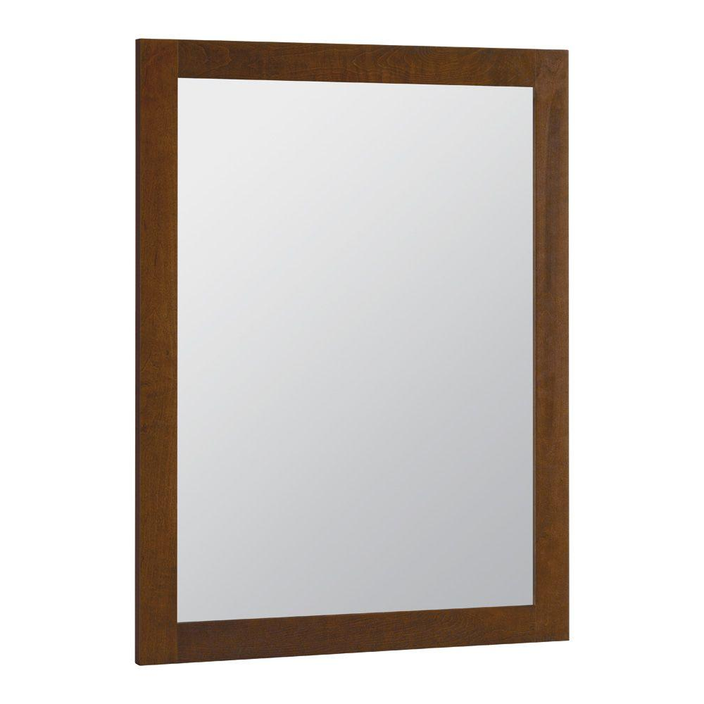 24 in. x 31 in. Framed Vanity Mirror in Cognac