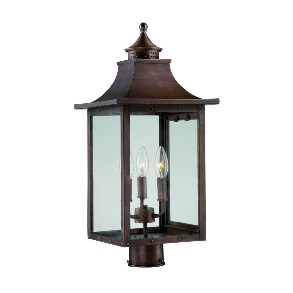 St. Charles 3-Light Copper Pantina Outdoor Post Light Fixture