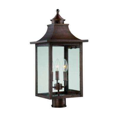 St. Charles 3-Light Copper Pantina Outdoor Post Light Fixture