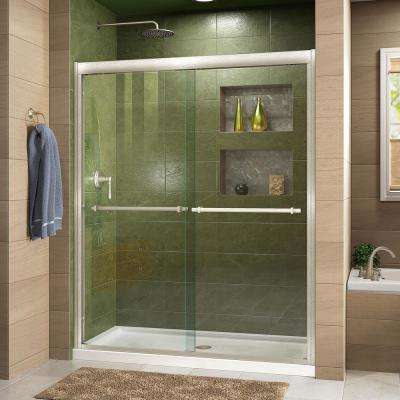 Duet 34 in. D x 60 in. W x 74.75 in. H Semi-Frameless Sliding Shower Door in Brushed Nickel and Center Drain White Base