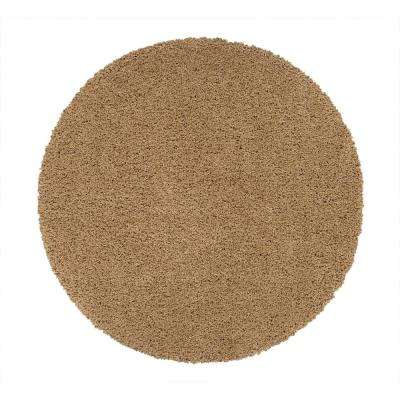 Cozy Shag Collection Beige 5 ft. 3 in. Round Solid Design Area Rug