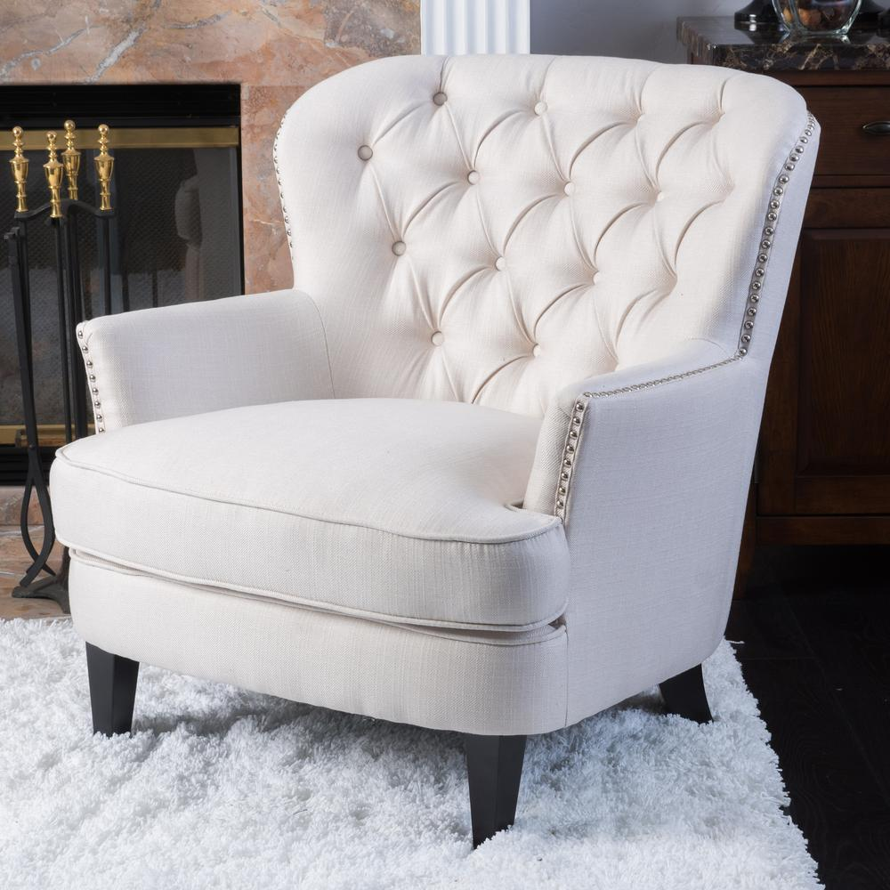 Beau Noble House Tafton Ivory Fabric Tufted Club Chair