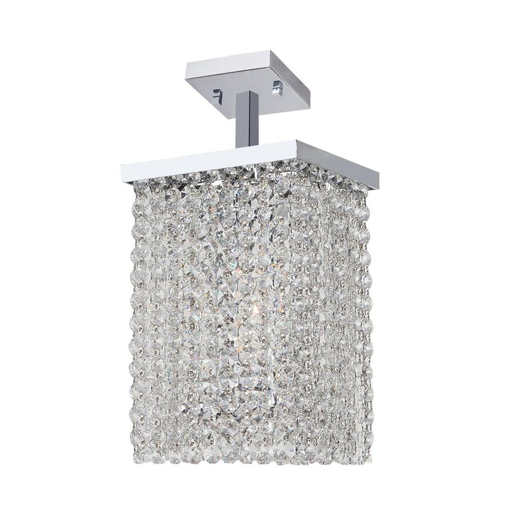 Worldwide Lighting Prism 1-Light Chrome Semi-Flush Mount with Clear Crystal Shade
