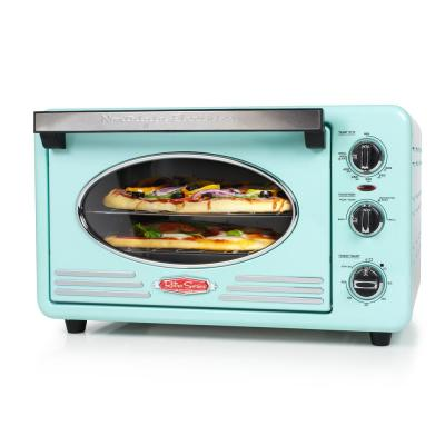 Retro 1500 W Aqua 12-Slice Convection Toaster Oven with Built-in Timer