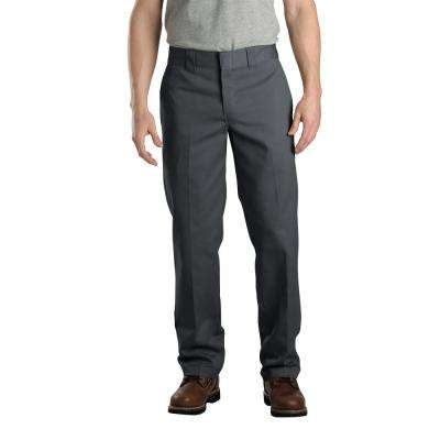 Men's 40 in. x 34 in. Charcoal Slim Fit Straight Leg Work Pant