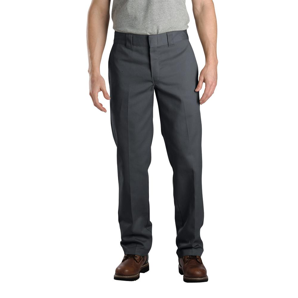 4ce7ac386c1 Dickies Men s 33 in. x 32 in. Charcoal Slim Fit Straight Leg Work ...