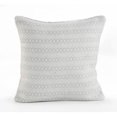 Silver Lining Gray and White Geometric Hypoallergenic Polyester 18 in. x 18 in. Throw Pillow