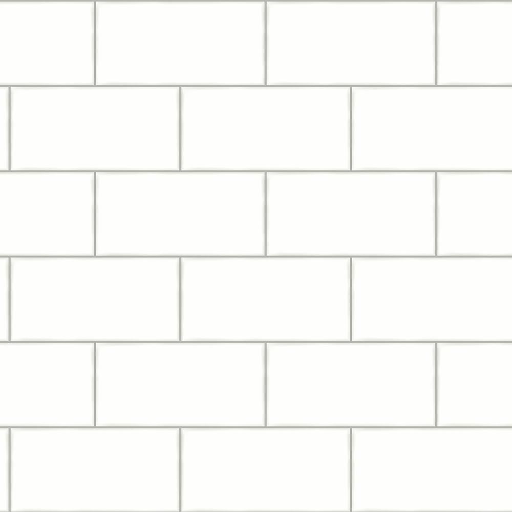 56.4 sq. ft. Freedom Off-White Subway Tile Wallpaper