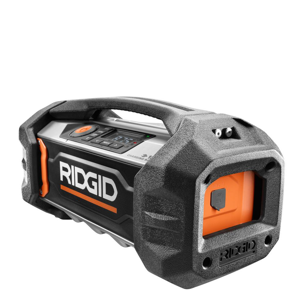 RIDGID 18-Volt Lithium-Ion Cordless Bluetooth Charging Radio (Tool Only)