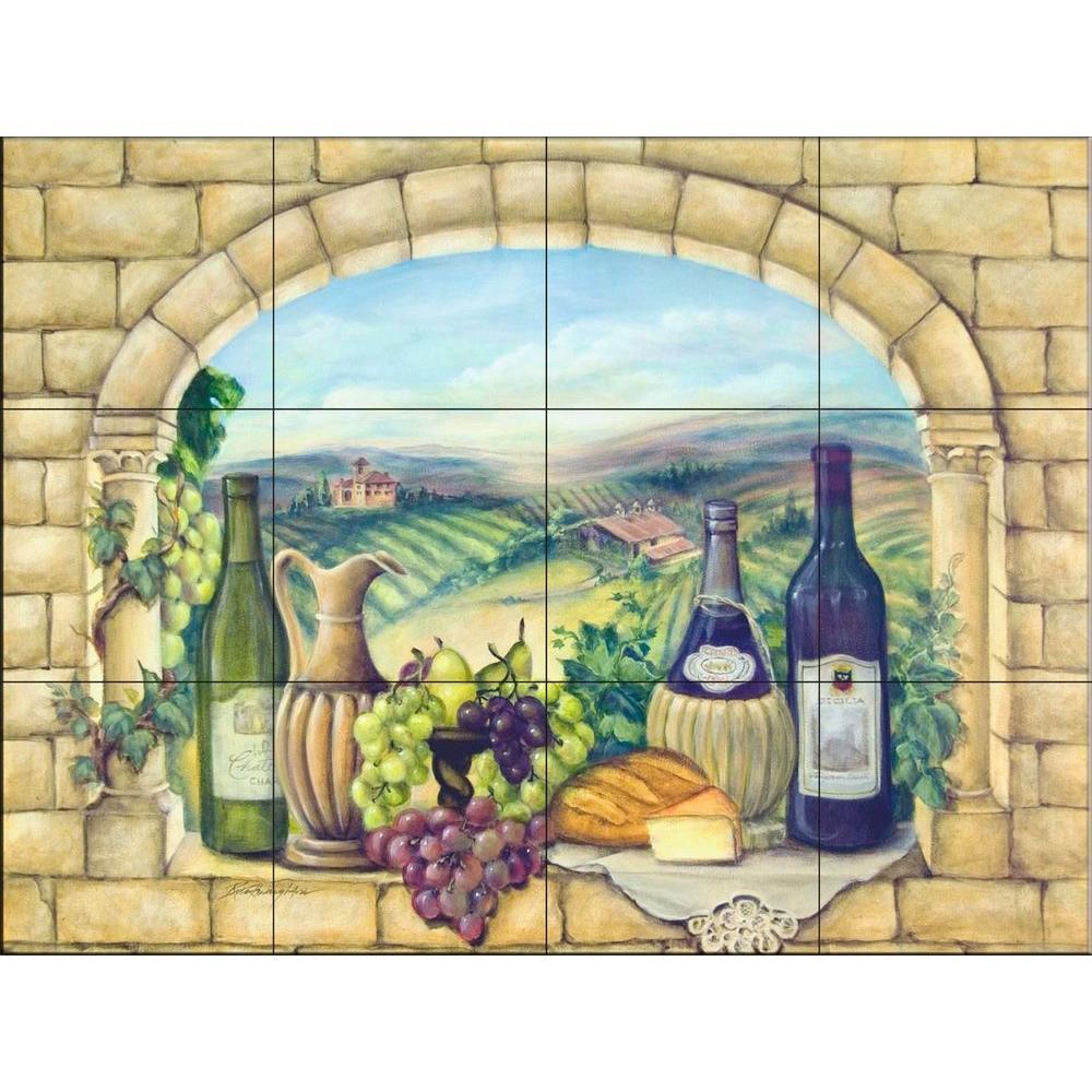 Tuscan Wine 24 in. x 18 in. Ceramic Mural Wall Tile