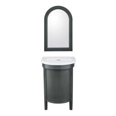 Laguna 23 in. W x 20 in. D Vanity in Charcoal Grey with Vitreous China Vanity Top in White with White Sink