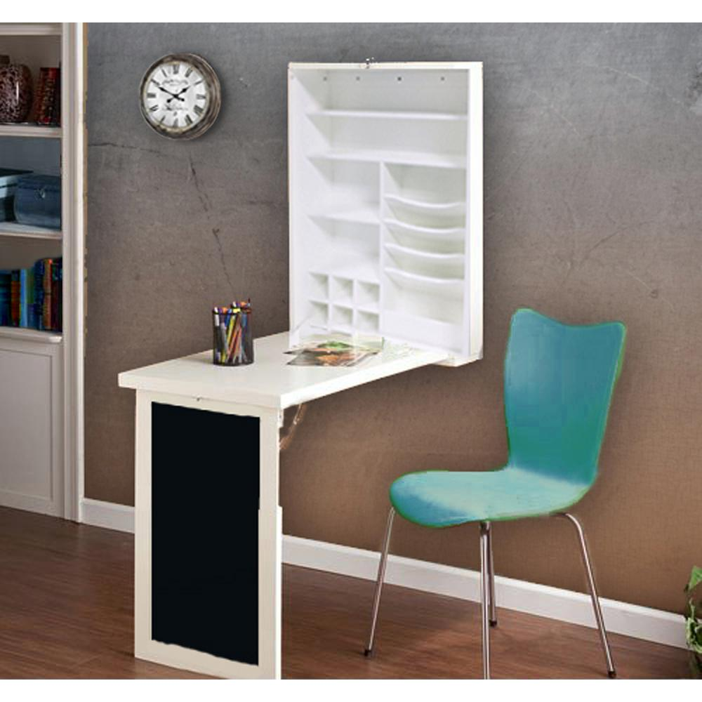 Fold Down White Floating Hanging Desk With Chalkboard And Storage