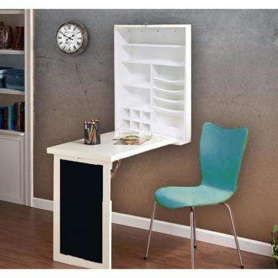 Fold-Down White Floating Hanging Desk with Chalkboard and Storage