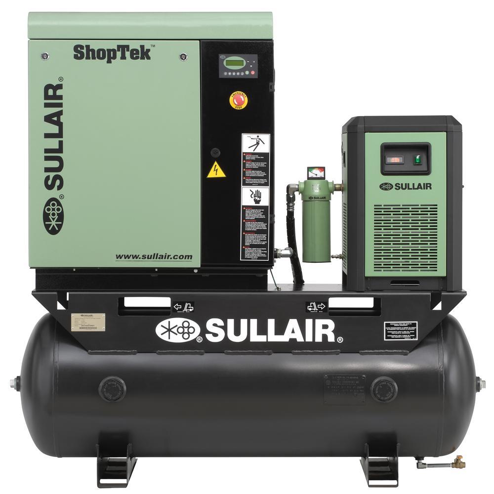 Sullair ShopTek 7.5 HP 3-Phase 208-Volt 80 gal. Stationar...