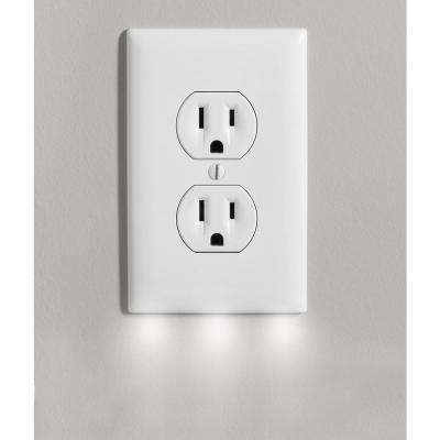 Outlet Wall Plate Cover with 3 LED Night Lights - Outlet Cover with Light - No Batteries and Wireless (4-Pack)
