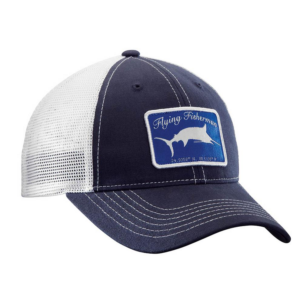 382e8690303fc Flying Fisherman Marlin Trucker Hat Navy and White-H1721 - The Home ...