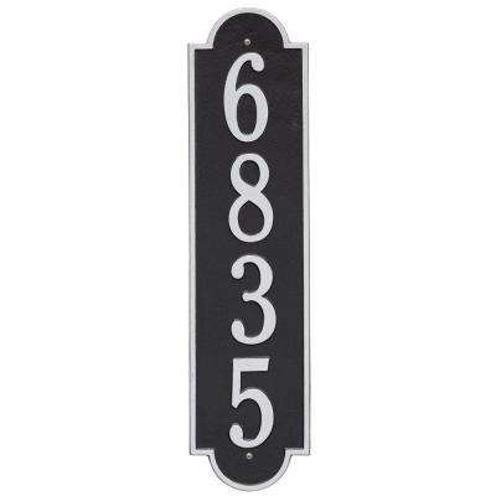 Richmond Estate Rectangular Black/Silver Wall 1-Line Vertical Address Plaque