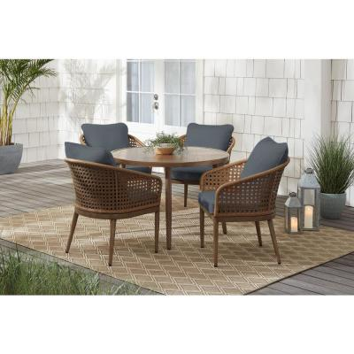 Coral Vista 5-Piece Brown Wicker and Steel Outdoor Patio Dining Set with CushionGuard Steel Blue Cushions
