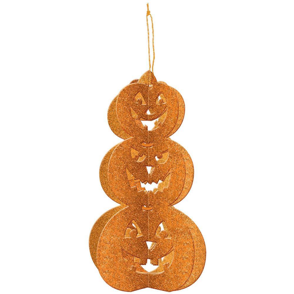 11.5 in. x 6 in. x 6 in. 3D Glitter Pumpkin Decoration (4-Pack)