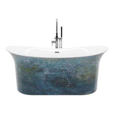 Ahri 66 in. Free-Standing Flatbottom Non-Whirlpool Hand-Painted Bathtub in Aqua Green