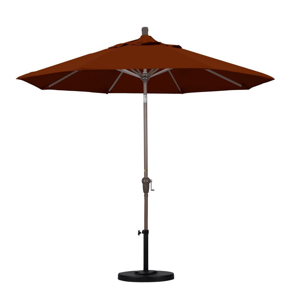 California Umbrella 9 ft. Aluminum Auto Tilt Patio Umbrella in Brick Pacifica