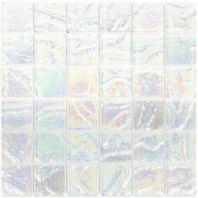 Marina Iridescent Squares White Glass Mosaic Wall Tile - 3 in. x 6 in. Tile Sample