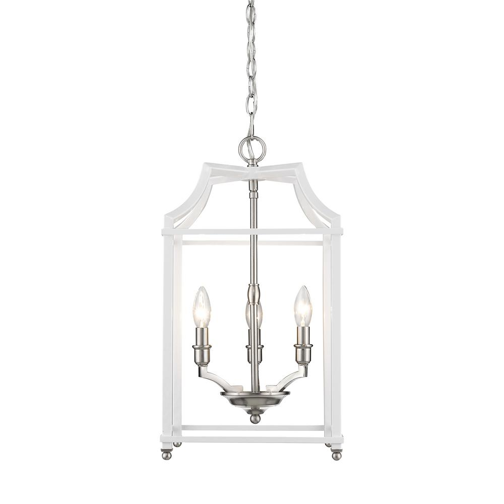 Leighton 3-Light Pewter and White Pendant Light