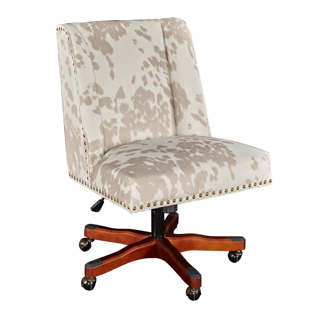 Linon Home Decor Dennis Walnut Linen Cow Print Office Chair
