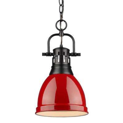 Duncan 1 Light Black Pendant And Chain With Red Shade