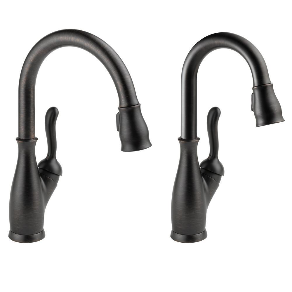 Leland Single-Handle Pull-Down Sprayer Kitchen Faucet Bundle with Bar Faucet in Venetian Bronze