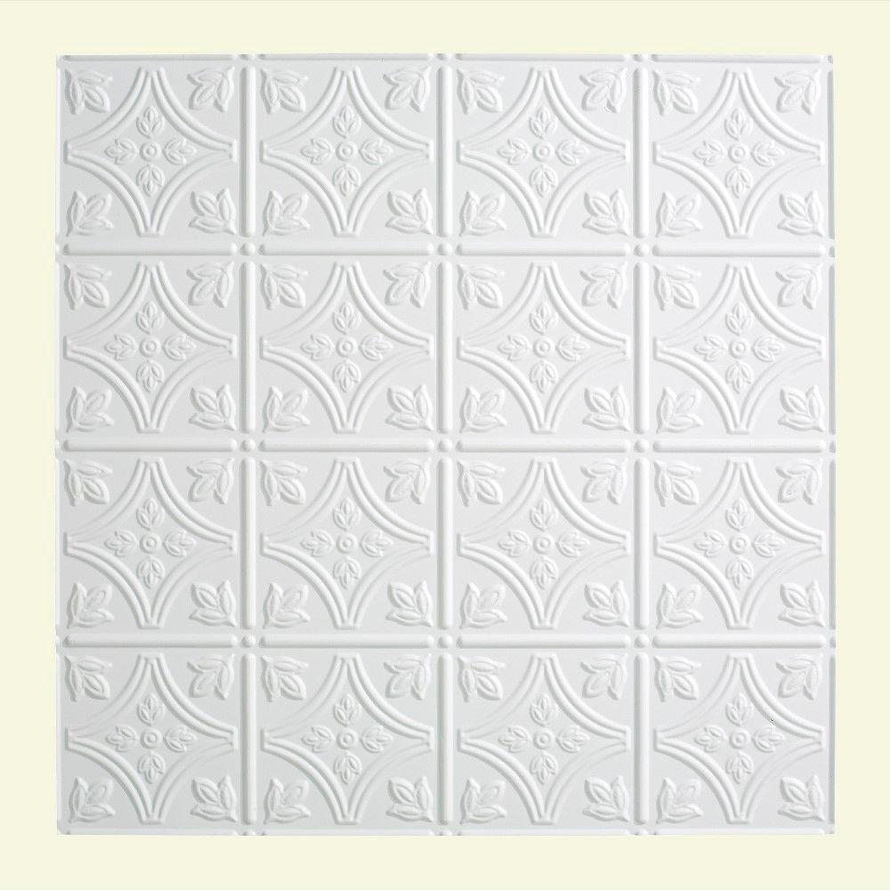 Fasade Traditional 1 - 2 ft. x 2 ft. Lay-in Ceiling Tile in Gloss White