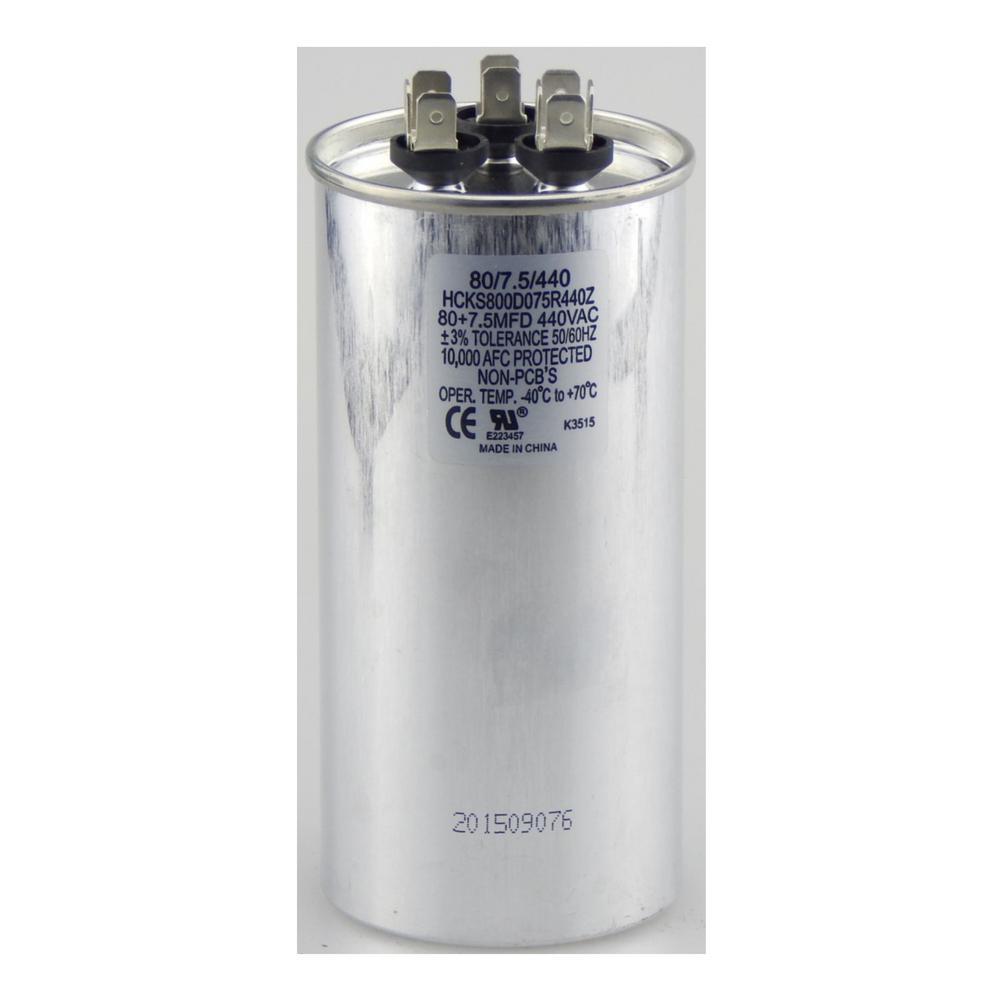 440-Volt 80/7.5 MFD Dual Rated Motor Run Round Capacitor
