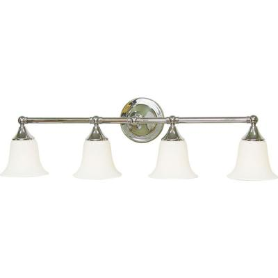 4-Light Indoor Brushed Nickel Bath or Vanity Light Wall Mount or Wall Sconce with Etched White Cased Glass Bell Shades