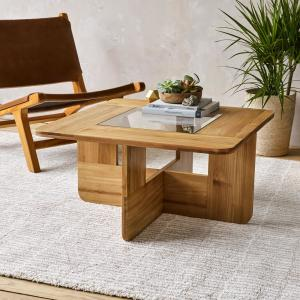 Design Ideas Lyndon Natural Teak Wood and Glass Coffee Table ...