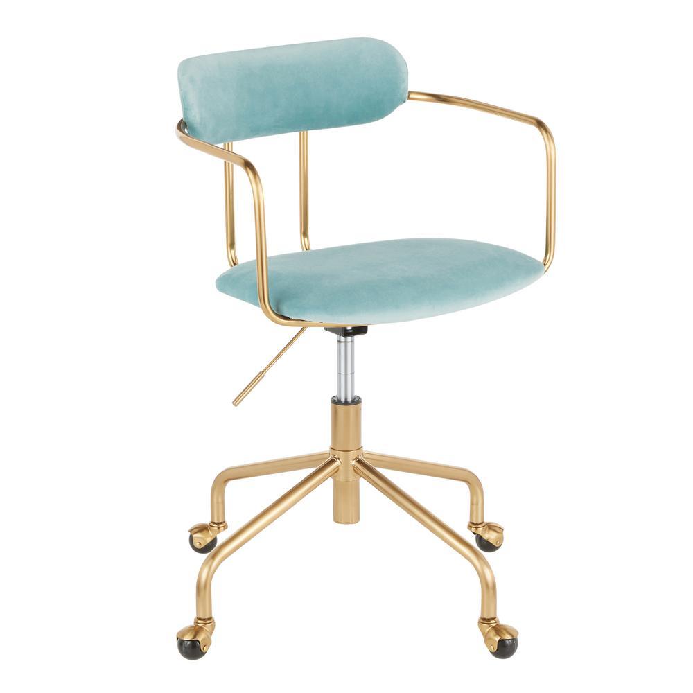 Demi Gold Task Chair in Light Blue Velvet