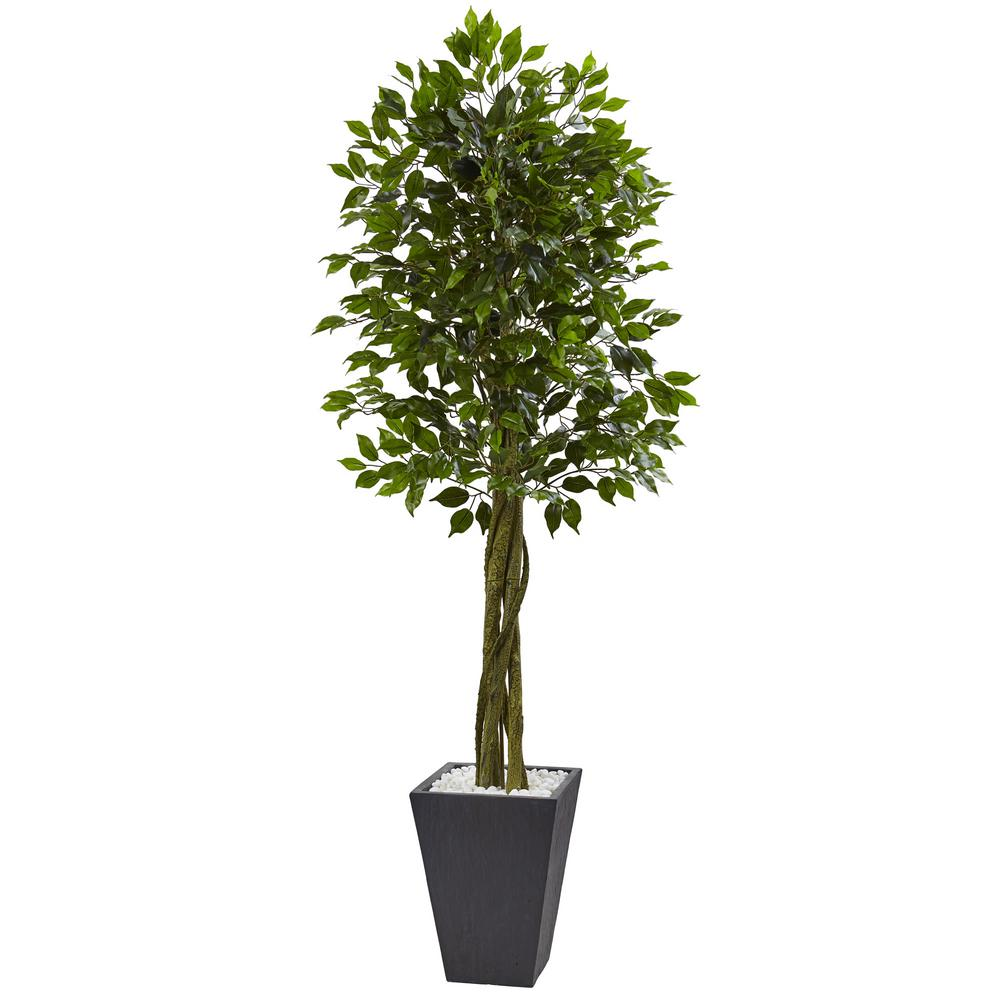 Nearly Natural Indoor Outdoor Ficus Artificial Tree With Slate Planter Uv Resistant 5948 The