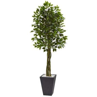 Indoor/Outdoor Ficus Artificial Tree with Slate Planter, UV Resistant